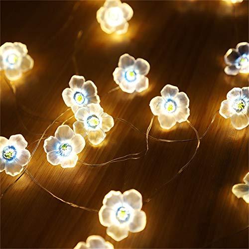 AS Cadena de luces LED para jardín, guirnalda de luces de flores, guirnalda de luces de flores de cerezo rosa, para fiestas, vacaciones, bodas, cumpleaños, decoración interior (azul)