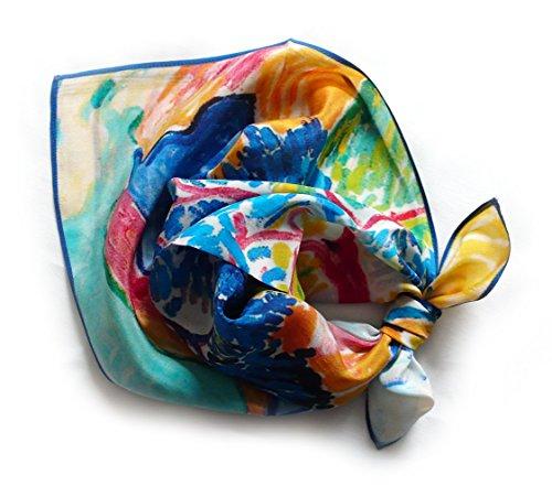 LIDA LYDI Kopftuch QUADRATISCH Crêpe aus 100% Seide, 52cmx52cm. Farbe blau, gelb, rot etc.