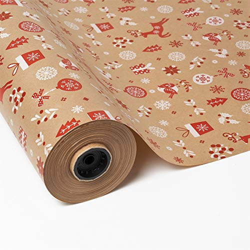 PAKOT Bobina Papel de Regalo Kraft Navidad - 70cm x 100M - Diseño con Copos de Nieve, abetos, renos, regalos navideños