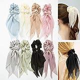 Set di 8 fasce per capelli sciarpe con fiocco per donne e ragazze a doppio strato in chiffon con elastico per coda di cavallo con stampa di capelli bandana forma di coniglio con colori assortiti