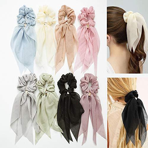 8PCS Haarbänder Schals Bowknot Haar Haargummis für Frauen Mädchen, Doppelschicht Chiffon Elastische Haargummis Pferdeschwanzhalter Haarabdruck Bandana