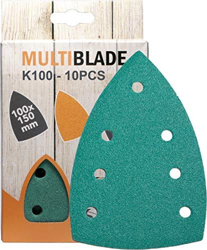 Multiblade 10 hojas de lija profesionales con velcro de 100 x 150 mm, grano 100, 7 agujeros, para madera y metal, calidad profesional para lijadora delta