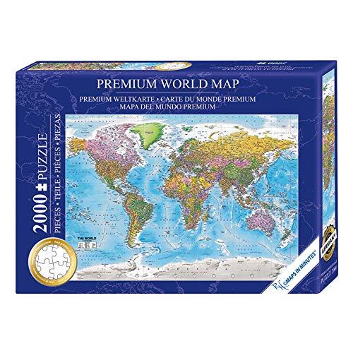 Close Up Rompecabezas/Puzzle Mapa del Mundo Premium - MAPS IN Minutes [2000 Piezas] 97 x 68 cm