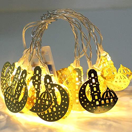 YZ-YUAN Cadena de Luces LED Ramadán, 20 LED de Hierro Forjado Dorado con Forma de Castillo de Luna, Cadena de Luces de Queroseno musulmán para Patio, jardín, casa de Vacaciones (Blanco cálido, 3 m)
