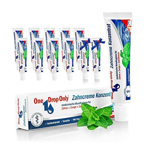 One Drop Only® - 10er Pack 25ml Zahncreme Konzentrat + 2 x 25ml Zahnpasta Konzentrat ON TOP/konzentrierte & medizinische Zahnpasta in kleinen Tuben zur medizinischen Mundhygiene/Reise Zahncreme