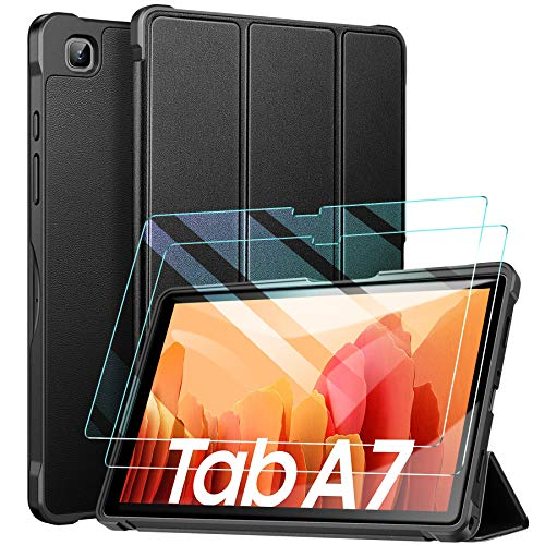 ZtotopCase Funda + [2 Pack] Protector Pantalla Tablet Samsung Tab A7 10.4 2020, con Templado Glass Film, Ultra Delgado y Ligero, con Función Atril para Funda Samsung Galaxy Tab A7, Negro