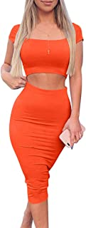 Women's Sexy Bodycon Midi Club Dresses Basic Casual 2 Piece Outfits Crop Top Skirt Set