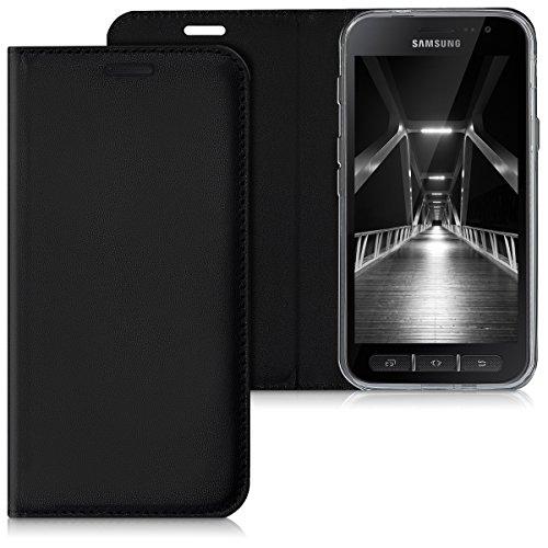 kwmobile Hülle kompatibel mit Samsung Galaxy Xcover 4 / 4S - Kunstleder Handy Schutzhülle - Flip Cover Hülle Schwarz