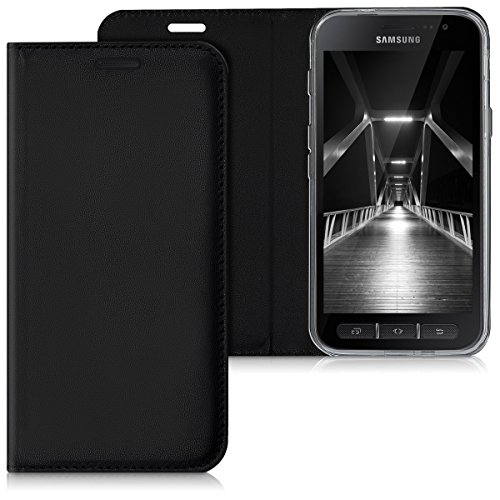 kwmobile Hülle für Samsung Galaxy Xcover 4 - Flipcover Hülle Handy Schutzhülle Kunstleder - Bookstyle Flip Cover Schwarz