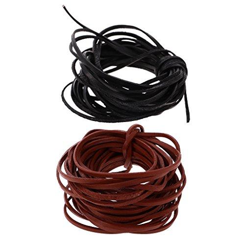 dailymall 2 Piezas 3 Mm Cordón de Cuero Plano Cuerda de Cuero Abalorios Cuerdas de Hilo Artesanal 5 M Cada Una Café Y Negro