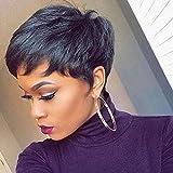BLISSHair Wig Pixie Cut Pelucas cortas de cabello humano 100% sin procesar cabello virgen brasileño Straight Wave Pelucas 3.5x4 Closure Wig Negro natural para mujer 8 pulgadas
