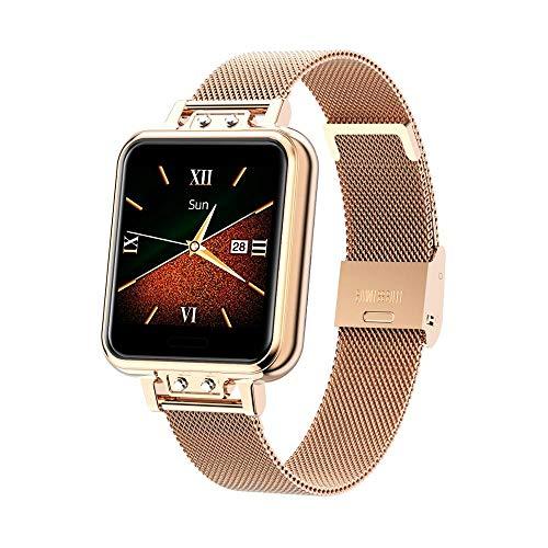 Smartwatch Damen,Fitness Armbanduhr Tracker Wasserdicht Smart Watch damen,Touchscreen Fitness Uhr für Damen mit Aktivitätstracker Herzfrequenz Monitor Schlafmonitor Schrittzähler für iOS Android,Gold