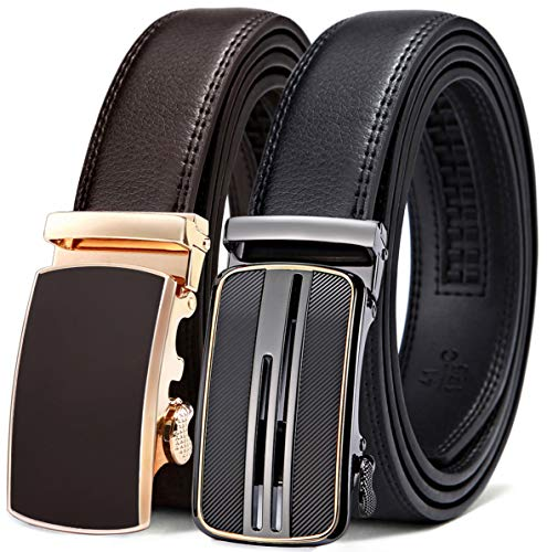 Mens Belt 2 Units Gift Pack,Bulliant Leather Ratchet Belt For Men Size Adjustable