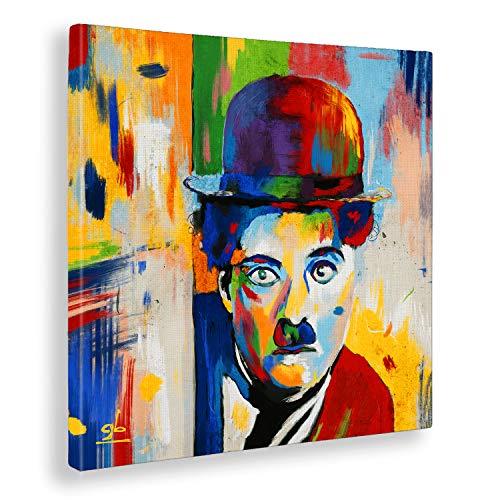 Giallobus - Quadro già intelaiato Pronto da Appendere - Stampa su Tela Canvas - Charlie Chaplin - Quadri Moderni per arredo casa Design - Vari Formati XXL - 50x50 cm