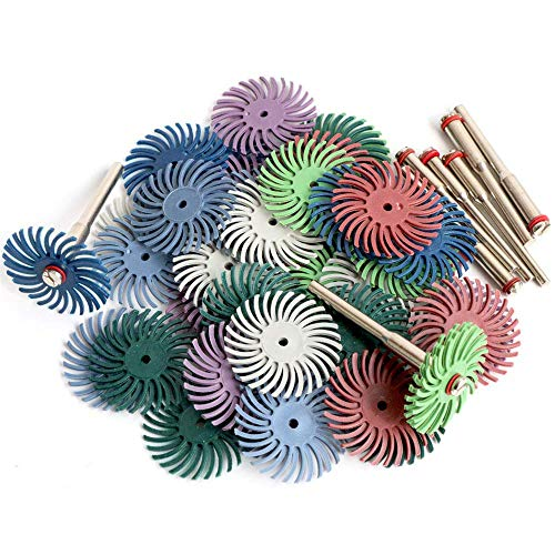 30Pcs 1 Inch/ 25mm Radial Bristle Disc Set with 4 Mandrels 80/120/220/400/600/1000 for Grit Abrasive Brush Gap Rotary Cleaning Polishing Wheel