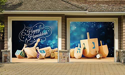 Victory Corps Hanukkah Dreidel - Jewish Holiday Garage Door Banner Mural Sign Décor 7'x 8' Split Car Garage - The Original Holiday Garage Door Banner Decor