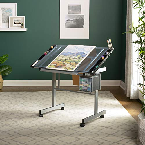 Studio Designs 10053  Vision Craft Station in Silver / Blue Glass