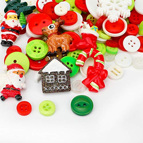 Konsait 60pcs christmas Buttons & Embellishments Assorted Round Buttons Holiday Seasons collection for DIY crafts, Scrapbooking, Sewing, cardmaking Knitting Sewing Xmas Supplies Decoration