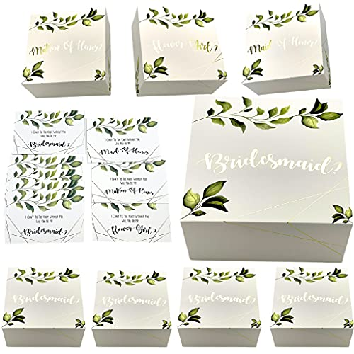 Bridesmaids Proposal Gift Boxes with Greenery with Gold Foil Letters & Proposal Cards (5 Bridesmaids, 1 MatronH, 1 MaidH, 1 FlowrGrl, 8)