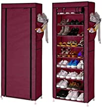 PARASNATH Mild Steel Red Cloth 9-10 Shelves Shoe Rack/Shoe Stand Made in India(Limited Time Offer)