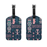 Aztec Maya Pattern With Hieroglyphic Symbol PU Leather Luggage Tags Travel ID Bag Tag for Suitcase Labels Bag Travel Accessories-2 Piece