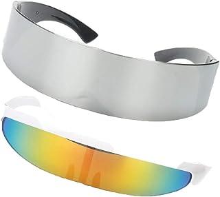5edd8e31f6 P Prettyia 2x Gafas de Sol Rainbow Color Futurista Soldado Space Alien Robot  Adornos Diseño Único