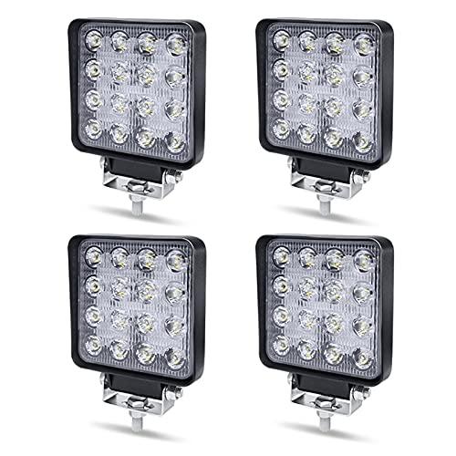 Arbeitsscheinwerfer LED 12V Aufun 48W Offroad Reflektor Flutlicht Zusatzscheinwerfer 4320lm, Scheinwerfer IP67 Wasserdicht für Traktor, SUV, UTV, ATV, 4 Stück