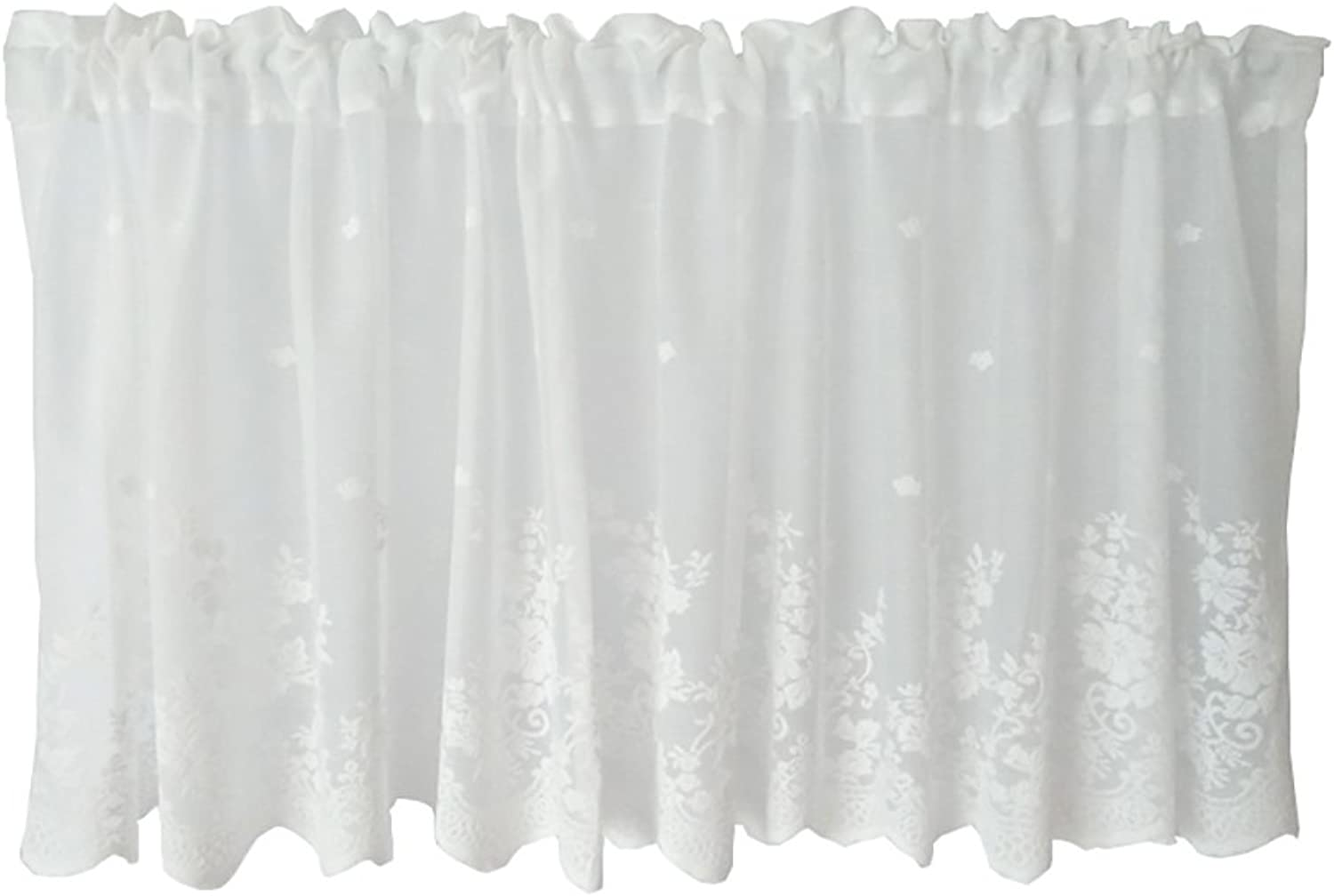 Roman Curtain Tulle White Yarn Embroidery Coffee Curtain Kitchen Short Curtain SemiShade Small Curtain For Home Decoration Rod Pocket,White,1Pc(100X40cm)
