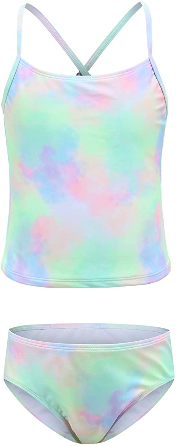 Girls Two Piece Tankini Swimsuits Tie Suit Year-end gift Hawa Dye Bathing Complete Free Shipping Kids