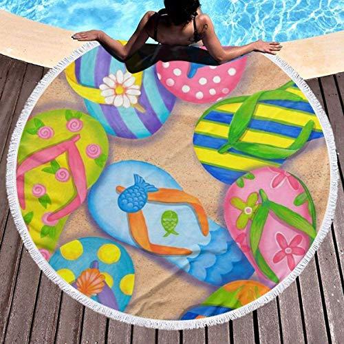 Divertidas chanclas artísticas sandalias gruesas redondas de playa, manta de picnic al aire libre, decoración de playa de microfibra para mujer