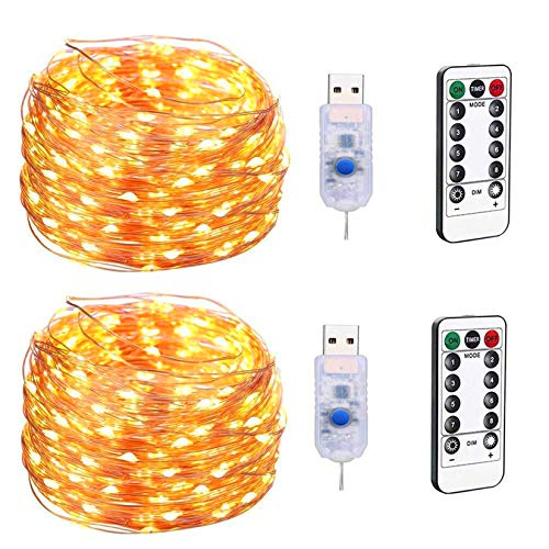 Kimairy LED Fairy Twinkly Warm String Lights, 33ft 100 LED USB Plug in Copper Wire 8 Modes Starry Miniature Small Smart Shristmas Tree Decorative Tiny Micro Mini String Lights (Warm White 2Pack)