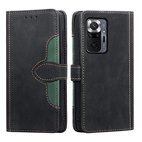 WWW - Funda para Redmi Note 10 Pro / Note 10 Pro Max, piel sintética de primera calidad con ranura para tarjeta, tarjetero, para Redmi Note 10 Pro/Note 10 Pro Max 2021, color negro