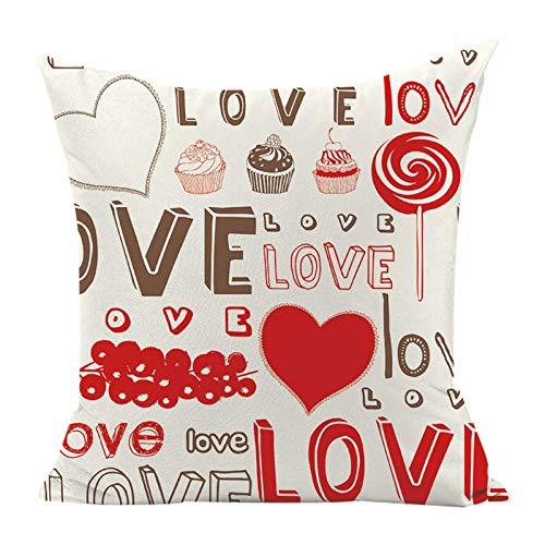 Funda de almohada de San Valentín decorativa para sofá, 45 x 45 cm, color beige, diseño romántico de San Valentín, funda de cojín de lino y algodón para decoración de la cama del hogar, 1 unidad