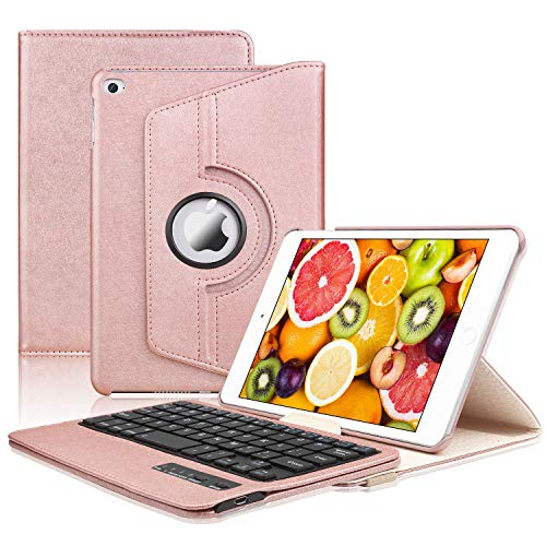 iPad Mini 5 /Mini 4 Keyboard Case, Bluetooth Keyboard KVAGO-360 Rotating Case with Detachable Wireless Keyboard for iPad Mini 5th gen 2019,iPad Mini 4 (Rose Gold)
