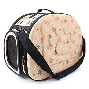 Sinbide Sac de Transport Chien Chat Lapin Respirable Démontable Lavable Pliable Oxford (Beige)