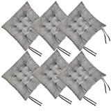 Cosyroom Set of 6 Chair Pads and Seat Cushions with Ties Non Slip Comfortable and Soft for Indoor, Dining Living Room, Kitchen, Office Chair, Den, Travel, Washable (Light Gray, 6)