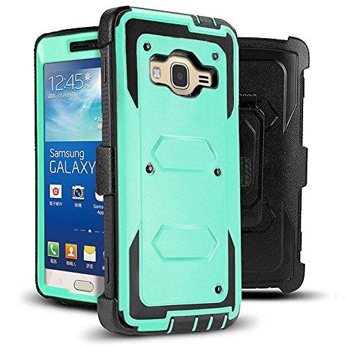 J.west Galaxy Grand Prime/Go Prime Case Rugged Holster Dual Layer Case [Kickstand][Belt Swivel Clip] for Samsung Galaxy Grand Prime (G530 G530H G530F G530M G530T G530AZ S920C), Mint