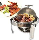 Fetcoi Chafing Dish - Calentador de alimentos (redondo, 6,8 L, acero inoxidable, con tapa enrollable)