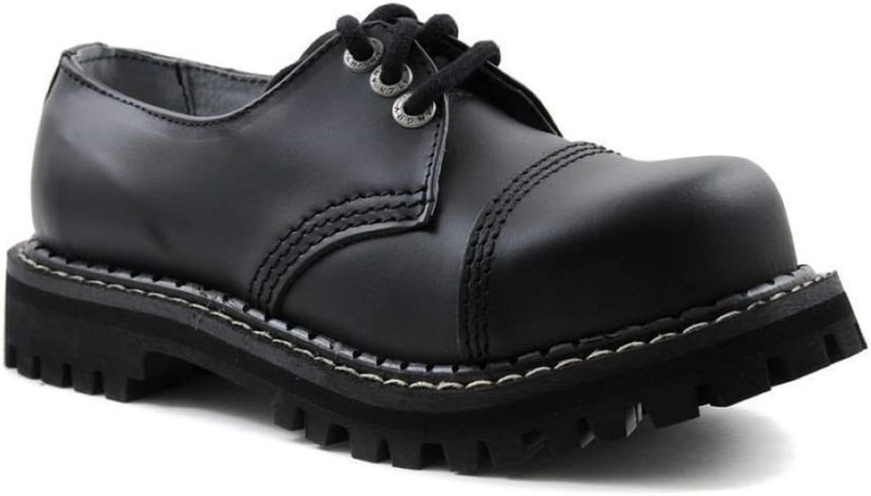 ANGRY ITCH 3 Loch Schwarz Leder Schuhe Schnüren Stahlkappe Stahlkappe Punk  bis zu 65% Rabatt