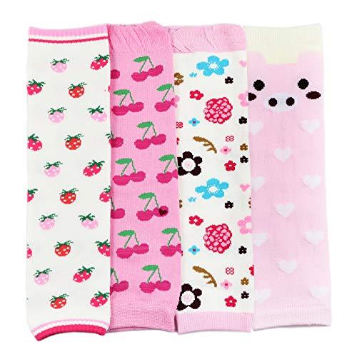 Dotty Fish Dotty Fish Stulpen im Multipack für Babys und Kleinkinder. Mädchen. 4er-Pack mit Kirschen und Blumen. Universalgröße
