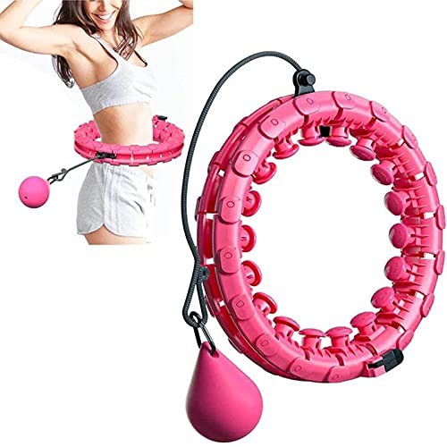 SUNTIRC Smart Hula-Hoops mit Zähler,Reifen zum Abnehmen Einstellbar, Hula-Hoop Reifen Fitness zum Erwachsene Kinder mit Massagenoppen und 24 Abnehmbare Teile, für Abnehmen Training (rosa)