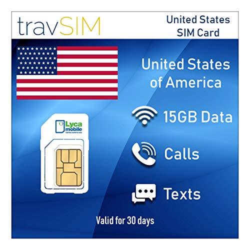 travSIM Lycamobile Prepaid USA SIM-Karte (Inkl Hawaii & Puerto Rico) SIM - 15GB Mobile Daten 3G / 4G / LTE, Unbegrenzte Nationale & Internationale Anrufe + Text - Gültig für 30 Tage