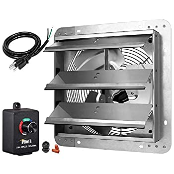 iPower HIFANXEXHAUST12CTB 12 Inch Variable Shutter Exhaust Fan with Speed Controller and Power Cord Kit 1620RPM 1600 CFM Silver