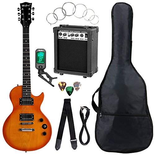 Set completo de guitarra eléctrica McGrey Rockit Simple Cut naranja intenso