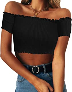 Women's Sexy Off Shoulder Crop Tops Strapless Ruffle Casual Slim Tees