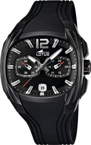 Lotus 15757-1 - Reloj analógico de Cuarzo para Hombre con Correa de Caucho, Color Negro