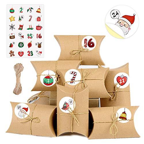 AmzKoi Calendrier de lAvent, 24 Calendrier de l Avent Kinder avec Autocollants Numérotés, 24 Jours pour Les Boîtes doreiller en Papier Kraft Calendrier de lAvent 2020 pour Les Décorations de Noël