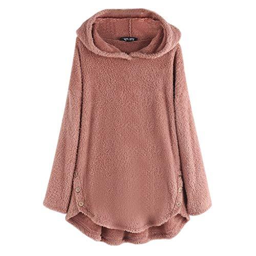 Andouy Damen Fuzzy Faux Fleece Mäntel Asymmetrie Saum Kapuzenpullover Übergroß Taschen Hoodies(M.Rosa-3)