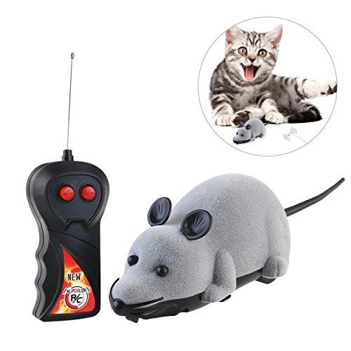 Rosenice Katzenspielzeug mit Fernbedienung, Maus, für Katze, Spielzeug, Plüschmaus, Spielzeug zum Jagen (Grau)