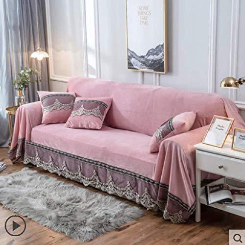 LDSHW Funda de sofá,Funda de sofá Europeo de 1/2/3/4 plazas Toalla de sofá Universal de Color sólido con Encaje Funda de sofá de Polvo con Todo Incluido Bordado, Rosa, Funda de cojín de 45